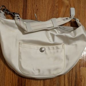 Coach Bags - Coach white sateen hobo bag with suede trim on zip